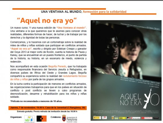 """Jueves 7 (hoy), proyección del corto """"Aquel no era yo"""" en la Casa de la Juventud"""