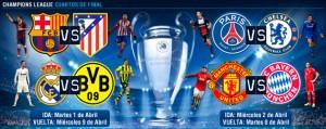 Barcelona-Atlético y Real Madrid-Borussia Dortmund, choques de cuartos en la 'Champions'