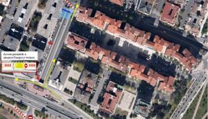 Cortada al tráfico la calle Esquíroz en su unión con la carretera de la Universidad y la avenida de Navarra
