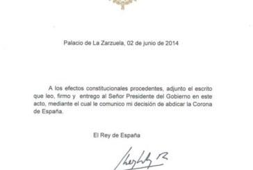 EDITORIAL: La abdicación del Rey Juan Carlos I sorprende a España