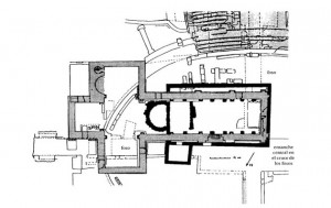 Planta de los dos templos cristianos sobre la arena del anfiteatro de Tarraco.