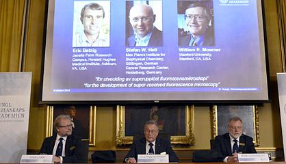 Eric Betzig, Stefan W. Hell y William E. Moerner ganan el Premio Nobel de Química de 2014