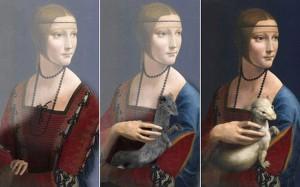 Las tres versiones pintadas por Leonardo, obtenidas con la técnica de Cotte © lumiere-technology.com