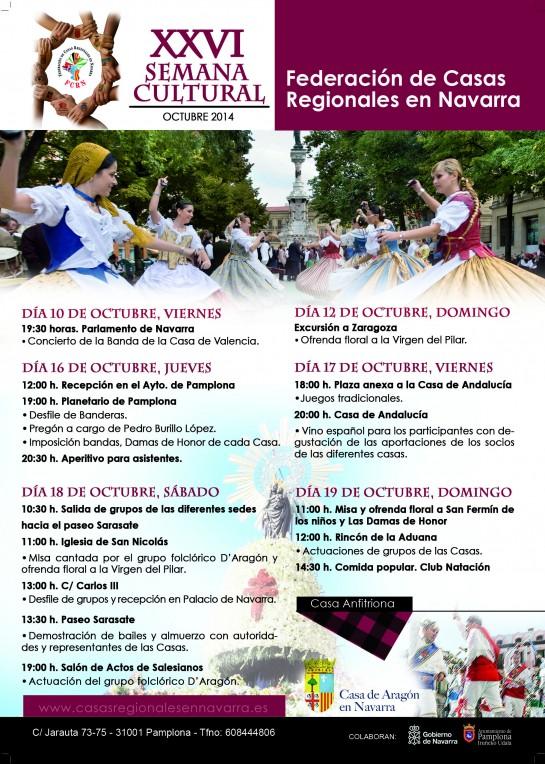 AGENDA: 10 a 19 de octubre, en Pamplona, XXVI Semana Cultural de las Casas Regionales de Navarra