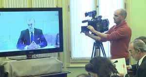 Videoconferencia de Bárcenas en una comisión de investigación del Parlamento balear.TVE