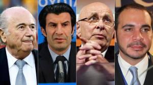 Los candidatos a presidir la FIFA son Joseph Blatter, Luis Figo, Michael van Praag, y el príncipe jordano Ali bin Al Hussein. DR