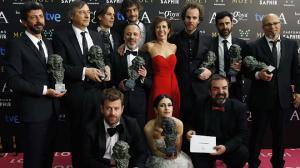 Foto de familia y brindis de todos los premiados de los Goya 2015. DR