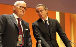 Los vicepresidentes del FC Barcelona, Carles Villarubí (i) y Javier Fauss. DR