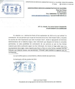 Carta del presidente de lla Agrupación Valdorba en la que insta a contratar un secretario sustituto.
