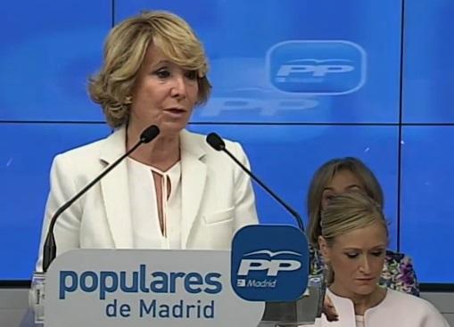 Aguirre pide un Gobierno con PP, PSOE y C's