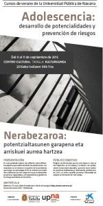 """""""Adolescencia: desarrollo de potencialidades y prevención de riesgos"""" curso de la UPNA en Tafalla"""