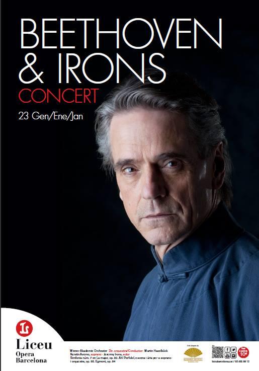 Jeremy Irons recita a «Egmont» en concierto de obras de Beethoven en el Liceo