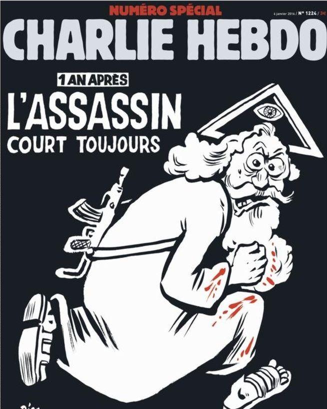 Un dios asesino ilustra la portada conmemorativa de Charlie Hebdo