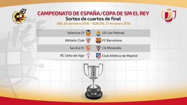 Athletic y Barcelona reeditarán en cuartos la última final de la Copa del Rey