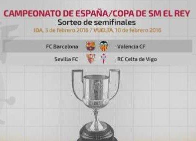 Barcelona-Valencia y Sevilla-Celta se enfrentarán en las semifinales de la Copa del Rey 2015/2016