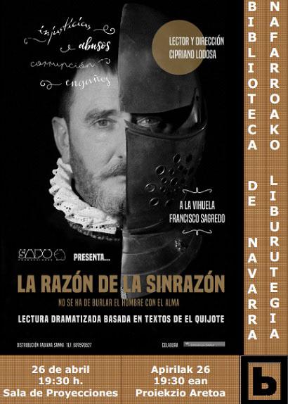 AGENDA: 26 de abril, Biblioteca de Navarra, lectura dramatizada de El Quijote