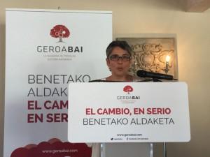 Anika Luján interviene ante el Consejo general de la coalición (Geroa Bai).