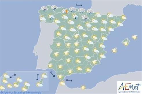 Precipitaciones en el norte y descenso térmico en casi todo España