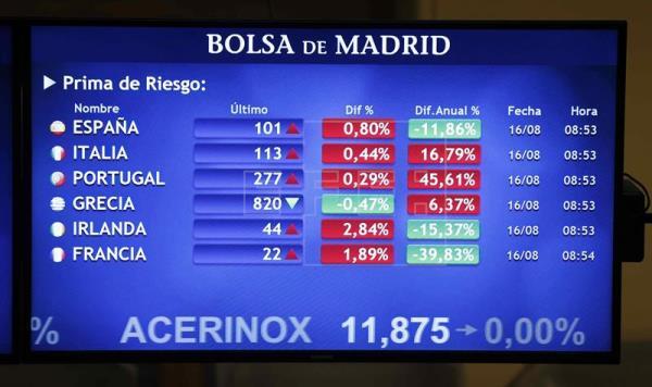 La prima de riesgo española baja a 133 puntos y el bono cae al 1,588 por ciento