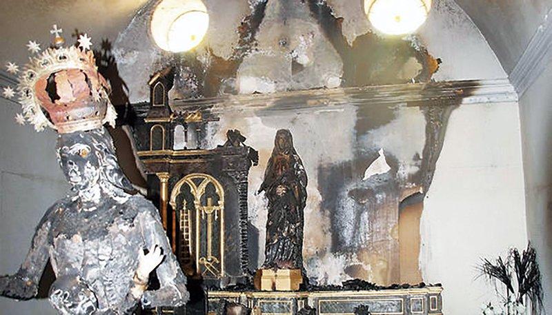 Quemadas tres imágenes de la Vírgen en Fontellas: El Arzobispo de Pamplona responde