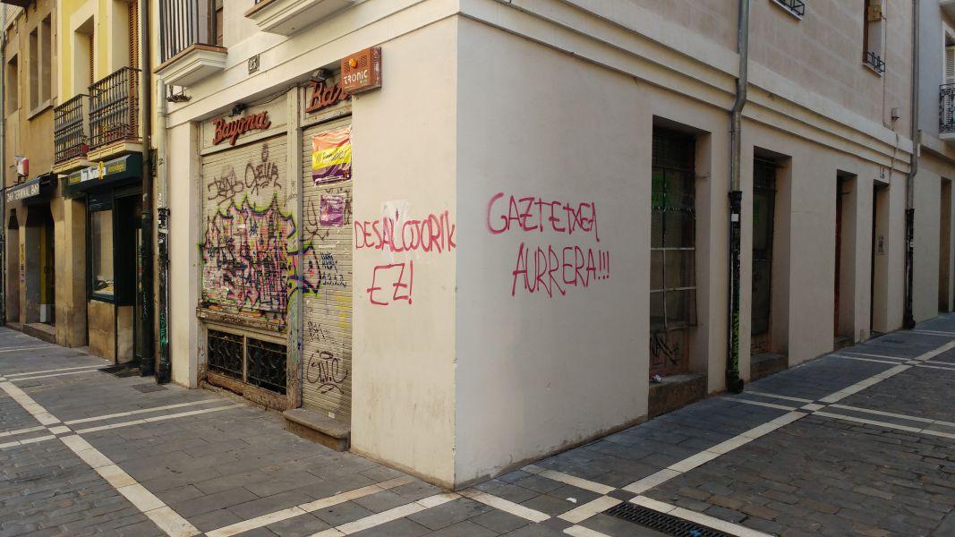 """UPN denuncia pintadas contra la Guardia Civil y en favor del """"gaztetxe"""" en Pamplona"""