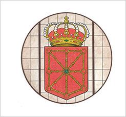 Boceto de la vidriera con el escudo de Navarra que se instalará en la fachada del Palacio de Navarra