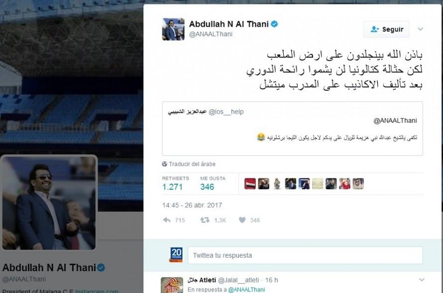 Al-Thani, jeque del Málaga: «La escoria de Cataluña no olerá el campeonato»
