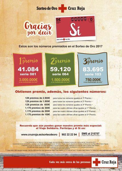 Cruz Roja incrementa las ventas del  Sorteo de Oro 2017 casi un 13%