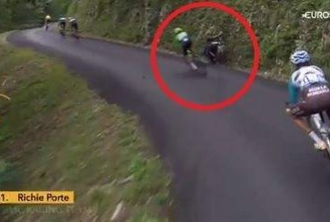 Escalofriante caída del australiano Richie Porte en el descenso del Mont du Chat