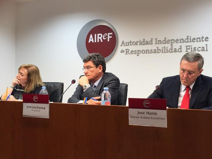 La AIReF considera improbable cumplir con la senda del déficit para el periodo 2018-2021, porque el gasto se reducirá menos