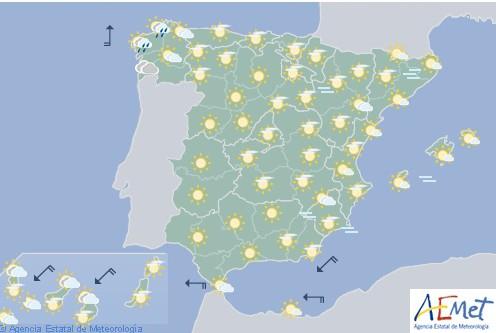 En España se espera un frente atlántico de cielos nubosos con precipitaciones