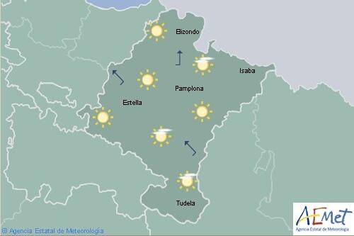 En Navarra poco nuboso o despejado y temperaturas en ascenso