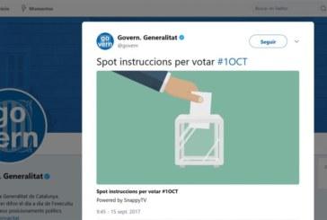 La Generalidad difunde en Twitter un anuncio con instrucciones para votar el 1-O