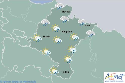 Lluvias y chubascos en la primera mitad del día y temperaturas en descenso en Navarra