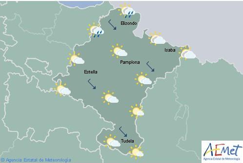 En Navarra hoy llovizna en la vertiente cantábrica y temperaturas en ligero ascenso