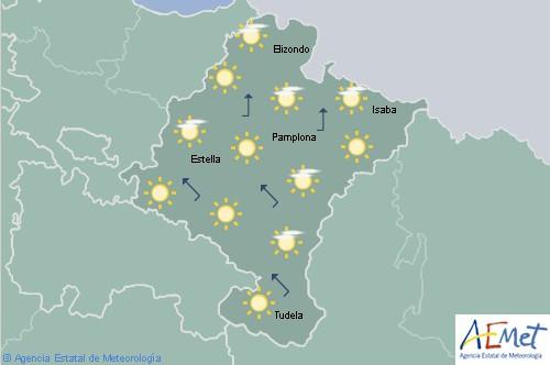 Cielo poco nuboso o despejado en Navarra con temperaturas máximas en aumento