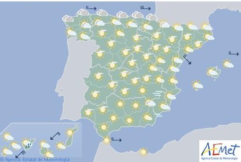 Hoy en España cubierto en el norte y litoral mediterráneo con ascenso de temperaturas