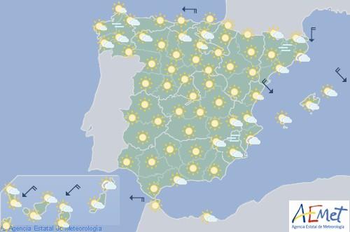 Cielos poco nubosos o despejados con temperaturas en ascenso en la mayor parte de España