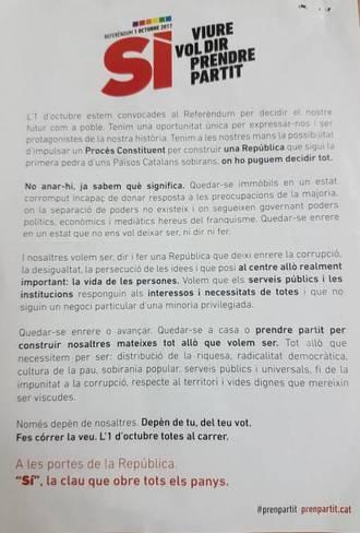 La Guardia Civil interviene en Sabadell material electoral para el 1-O