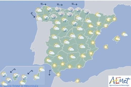 Hoy en España descenso notable de las temperaturas en Galicia, Cantábrico y alto Ebro