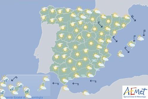 Hoy en España tiempo estable con nubes altas en noroeste peninsular