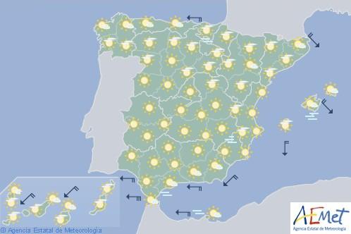 Hoy en España tiempo estable y cielo poco nuboso o despejado