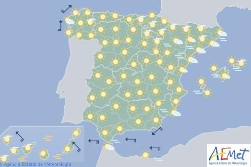 Hoy tiempo estable en España con cielo poco nuboso o despejado