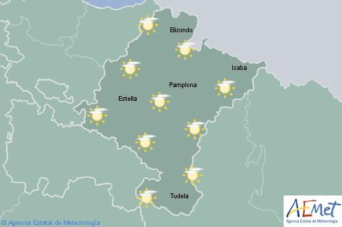 En Navarra poco nuboso o despejado con temperaturas máximas en aumento