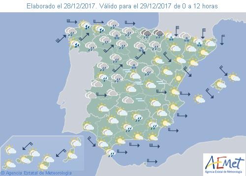 En España viento fuerte en Pirineos y desembocadura del Ebro,