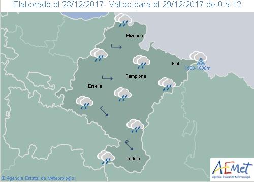 En Navarra cielo nuboso con precipitaciones