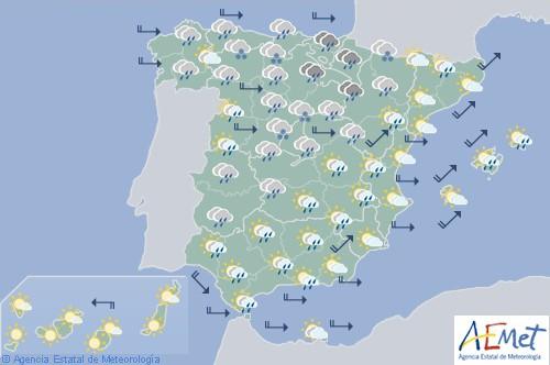 Hoy en España precipitaciones en Galicia, nieve a 1000 metros y viento fuerte en los litorales