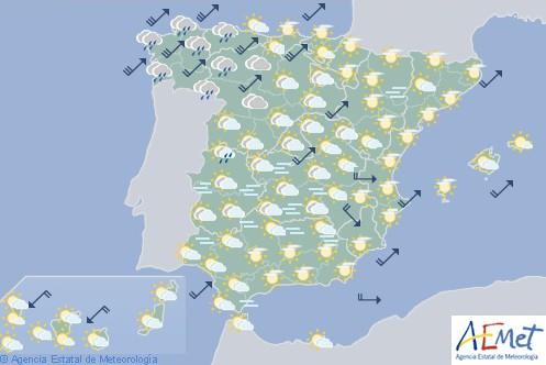 Hoy en España temperaturas en descenso con precipitaciones y viento fuerte en Galicia