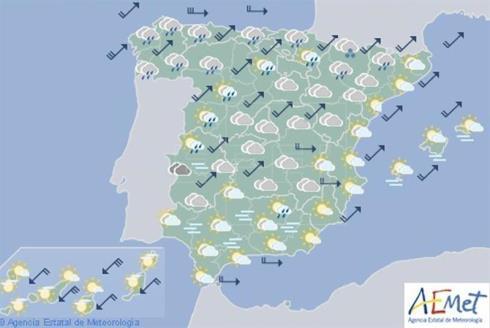 Hoy en España fuertes lluvias en el tercio noroeste