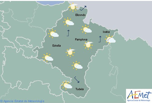 En Navarra nubosidad baja tendiendo a poco nuboso, temperaturas en ascenso